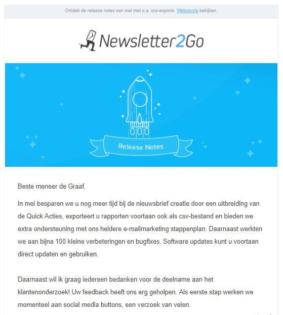 Newsletter klantenbinding Newsletter2Go