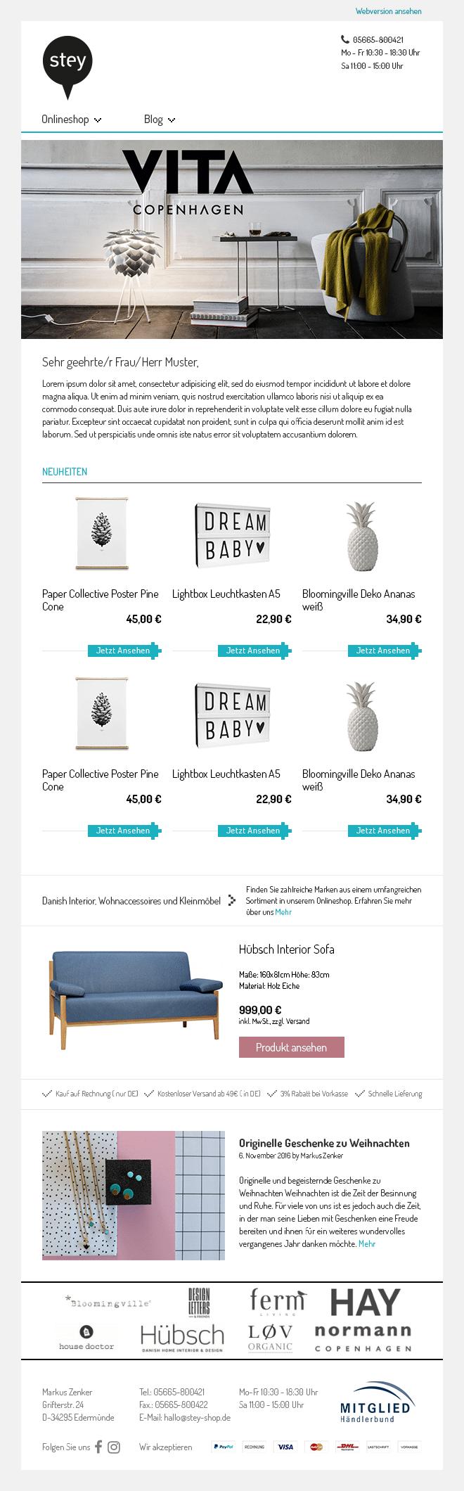 de 40 beste nieuwsbrief voorbeelden newsletter2go. Black Bedroom Furniture Sets. Home Design Ideas